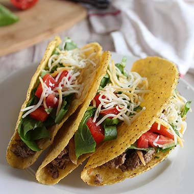 Three Beef Tacos (Crispy or Soft)